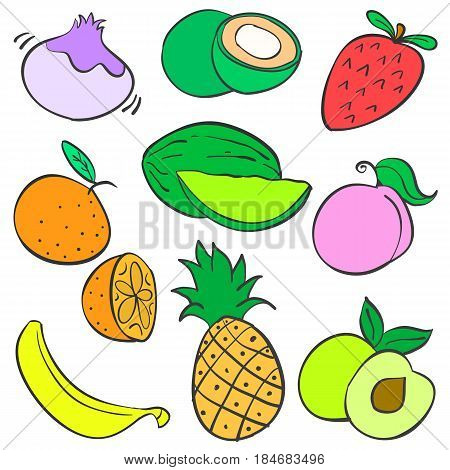 Collection stock of fruit various colorful doodles vector art