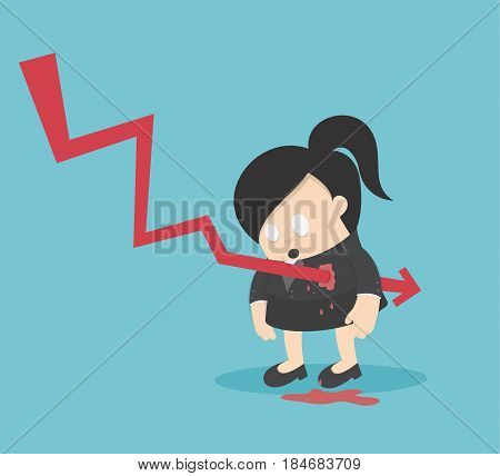 Concept graph stock falls or illustrations for Business woman design and infographic