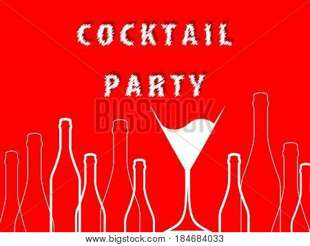 Cocktail party.Alcohol vector background.Bottle of alcohol illustration..Glasses to alcohol.Template for drink card.Suitable for posterpromotional leaflet invitation banner.