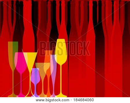 Wine background vector..Design for wine..Bottle of alcohol illustration..Glasses to alcohol.Alcohol vector background..Template for drink card.Suitable for posterpromotional leaflet invitation.