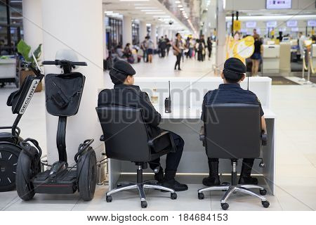 BANGKOK, THAILAND-February 162017: Airport Police on duty using Mono Wheel to patrol and security around the Airport Terminal for prevent terrorist.