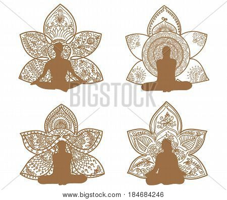 Meditation silhouette with lotus patterns of tattoo henna. Yoga set for design on white background.