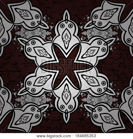 Beautiful pattern with abstract flowers. Brown background. Brown spotted Vector illustration. Background.