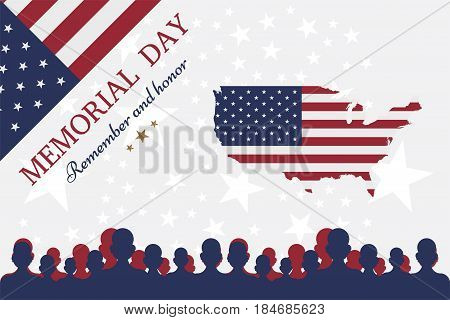 Happy memorial day. Greeting card with flag and soldier on background. National American holiday event.