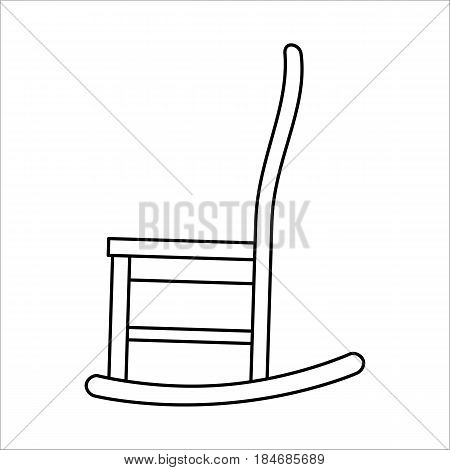 Thin line icon of chair rocking. Simple outline rocking chair on white background.