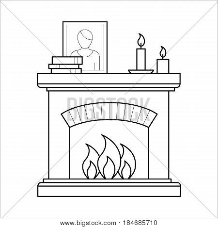 Room fireplace for firewood in outline style. House interior element for home decoration in thin linear style. Flat vector outline illustration isolated on white background.