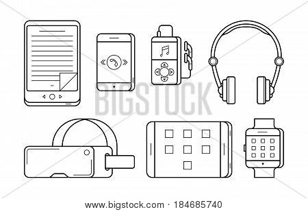 Media icons in thin line style. Electronic multimedia devices and person gadgets: eBook, smartphone and player, headphones, headset and tablet. Vector outline illustration isolated on white.