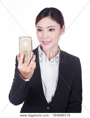 Business Woman Taking Selfie Photo With Smartphone Isolated On White Background
