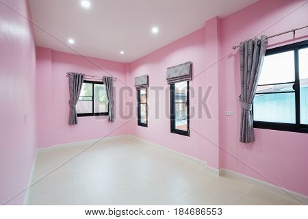 Empty Pink Room With Window