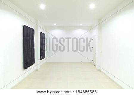 Empty White Room With Door And Window