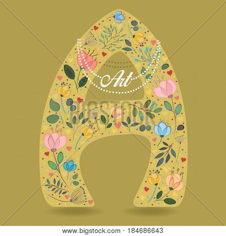 Yellow Letter A with Folk Floral Decor. Colorful watercolor flowers and plants. Small hearts. Graceful pearl necklace with text Art. Vector Illustration