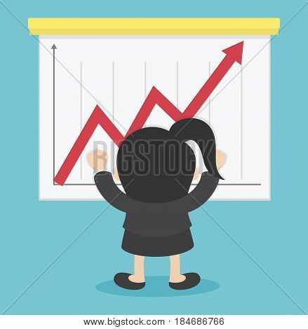 Business Woman Successful playing the stock  eps . 10