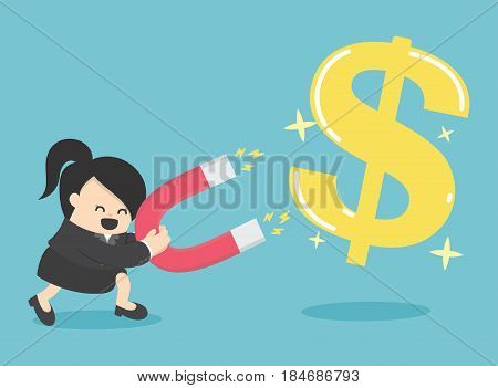 Business Woman Concept of attracting investments money coin with magnet