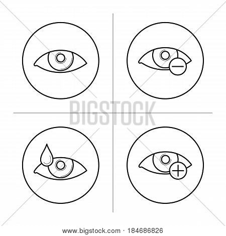 Ophthalmology icons with eyes in thin line style. Symbols of myopia and hyperopia. Eyesight illness, vision correction. Vector outline illustrations isolated on white background.