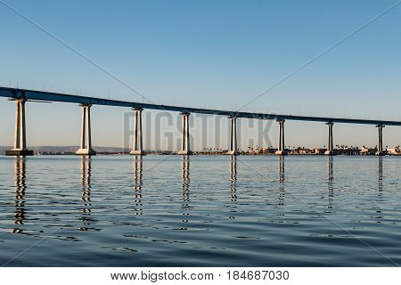 Concrete/steel girders supporting the Coronado Bay Bridge over San Diego Bay.