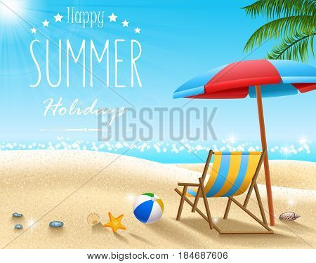 Vector illustration of Summer beach background in the morning