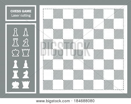 Chess game decorative laser cut. Geometric ornament. chessboard and chess pieces. Chess King. Template for laser cutting of metal, wood, paper. Souvenir gift. Handmade. Vector illustration.