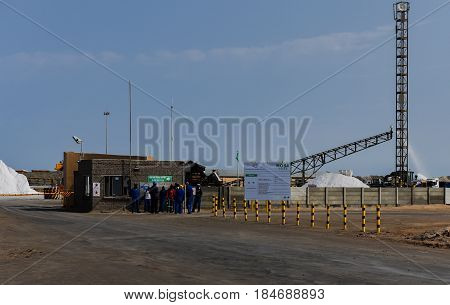 Walvis Bay, South Africa, August 24: Saltworks in the resort of Walvis Bay, August 24, 2015 in Walvis Bay, South Africa