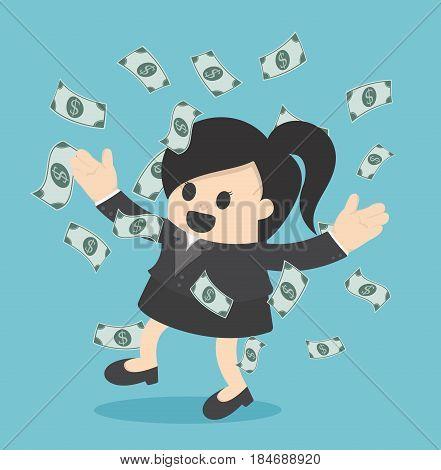 Happy business woman money rain throwing money up Business concept cartoon illustration