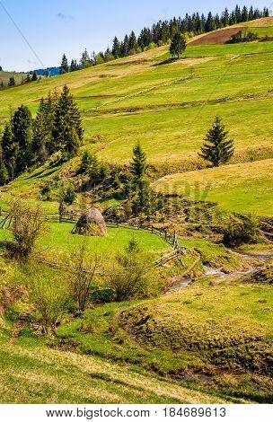 Mountain Rural Area In Late Springtime