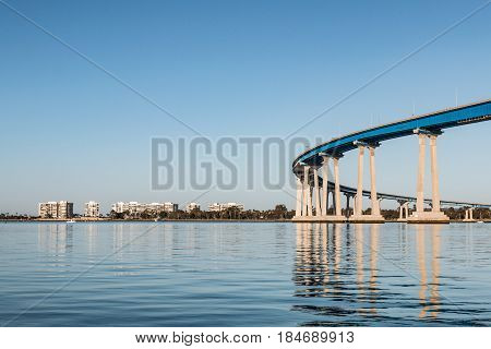 Coronado Bridge and condominiums on Coronado, California