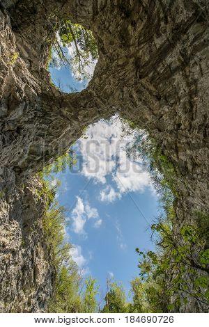 Big natural bridgea in national park Rakov Skocjan in Slovenia