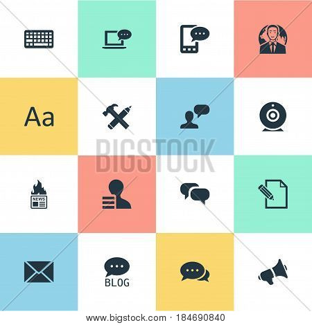 Vector Illustration Set Of Simple Newspaper Icons. Elements Post, Gazette, Keypad And Other Synonyms Alphabet, Argument And Loudspeaker.