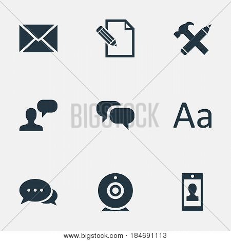 Vector Illustration Set Of Simple User Icons. Elements Man Considering, Post, Gossip And Other Synonyms Profile, Conversation And Debate.