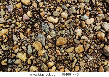 Abstract background with pebbles - many round small stones.