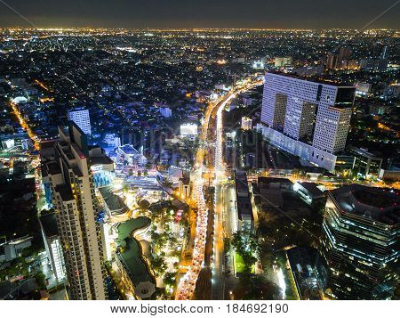 Bangkok Thailand - May 3 2017 : An aerial of view of Elephant Building Ratchayothin junction the wind condominium in Bangkok Thailand in the evening time on May 3 2017