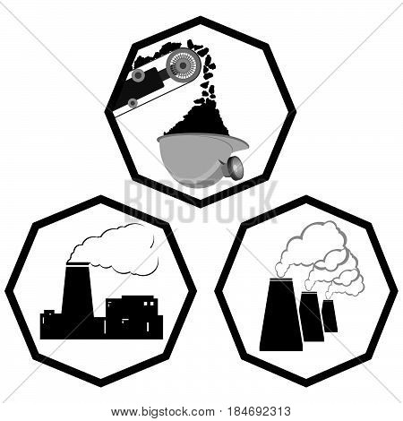 Set Coal industry icons. The illustration on a white background.