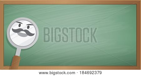 Magnifying Glass Character Cartoon Design And Green Board Frame Background For Message Illustration