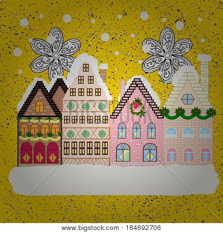 Vector. New year holidays. Winter houses road tree. Winter in the city christmas decor fir-trees. Vector. Greeting card poster design. Cute town Christmas eve. Cityscape. Winter nature landscape.