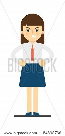 Evil young woman with hands on waist gesture isolated on white background vector illustration. Beautiful pretty school girl in blouse and skirt in flat design.