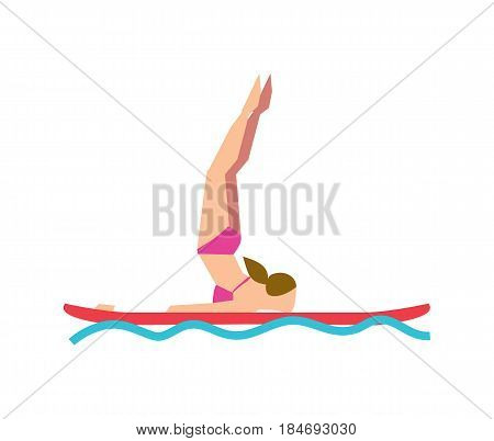 Woman practicing SUP yoga on paddle board vector illustration isolated on white background. Fitness on water, sport training, healthy lifestyle concept in flat design.