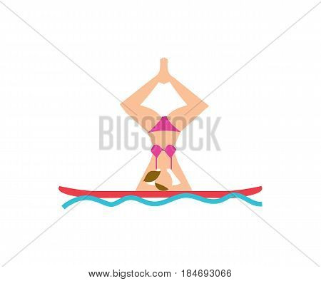 Young woman doing yoga asana on board vector illustration isolated on white background. Fitness on water, sport training, healthy lifestyle in flat design.