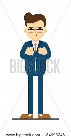 Considerate businessman with hands crossed gesture isolated on white background vector illustration. Standing man in blue business suit in flat design.