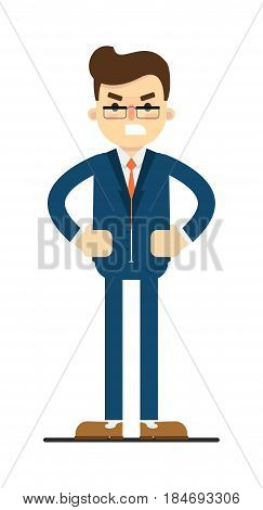 Angry businessman with hands on waist gesture isolated on white background vector illustration. Smiling man in blue business suit in flat design.