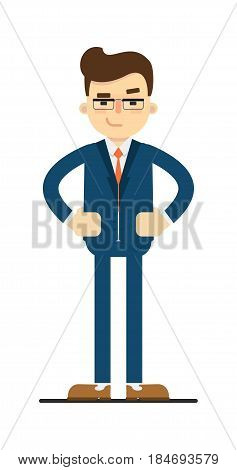 Interested businessman with hands on waist gesture isolated on white background vector illustration. Smiling man in blue business suit in flat design.