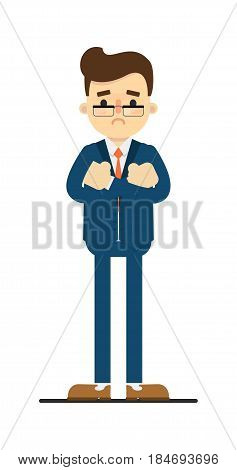 Worried businessman with hands crossed gesture isolated on white background vector illustration. Standing man in blue business suit in flat design.