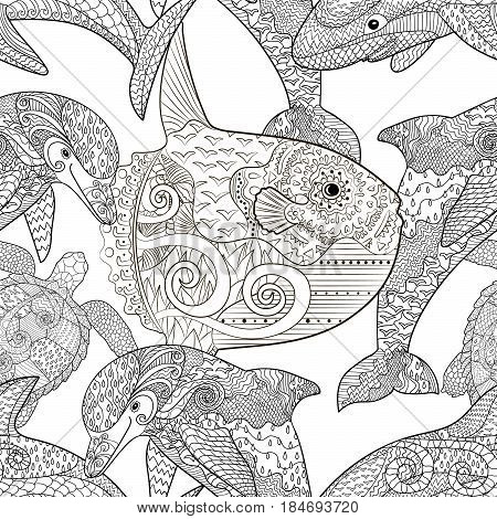 Oceanic animals zentangle seamless pattern. Hand drawn tile texture for coloring book.Template for textile, wrapping or scrapbook paper print. Antistress colouring page for grown ups. Vector