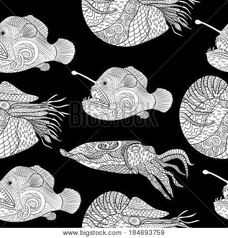 Oceanic animals zentangle seamless pattern. Hand drawn tile texture with fish for coloring book.Template for textile, wrapping or scrapbook paper print. Antistress colouring page for grown ups.