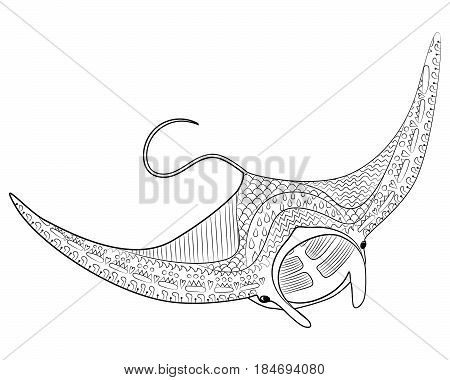 Hand drawn swimming manta with high details for anti stress coloring page, illustration in tracery style. Sketch for tattoo, poster, print, t-shirt in zentangle style. Isolated on white back. Vector.
