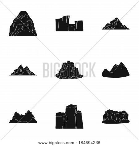 Set of icons about different mountains. Winter, summer mountains in one collection.Different mountains icon in set collection on black style vector symbol stock web illustration.