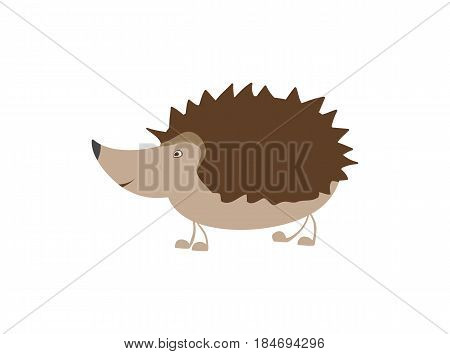 Funny hedgehog personage vector illustration isolated on white background. Cute wild animal, zoo wildlife character in cartoon style.