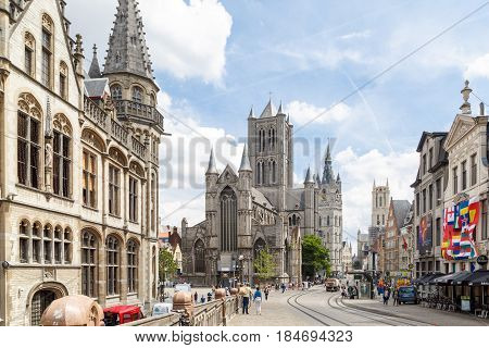Popular Buildings In Gent From St Micheal Bridge