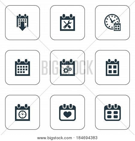 Vector Illustration Set Of Simple Plan Icons. Elements Date Block, Heart, Reminder And Other Synonyms Calendar, Planner And Wheel.