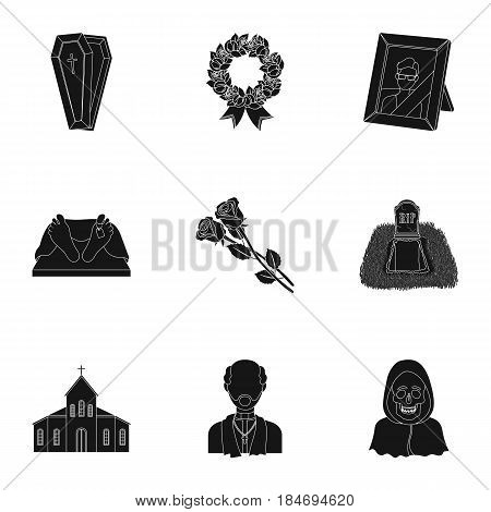 Funeral ceremony, cemetery, coffins, priest.Funeral ceremony icon in set collection on black style vector symbol stock web illustration.