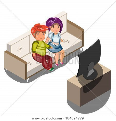 Young family watching tv in living room isometric view vector illustration