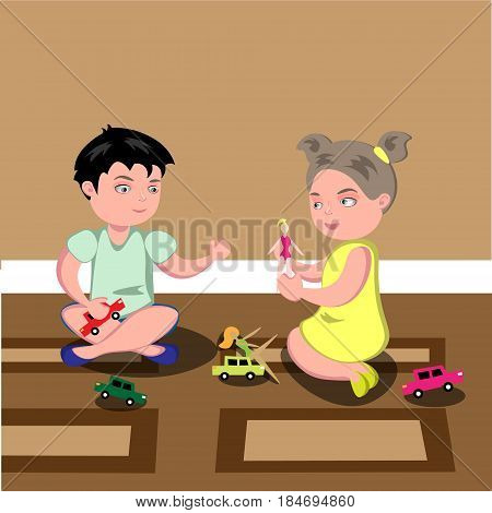 illustration of kids playing in a room. Vector illustration